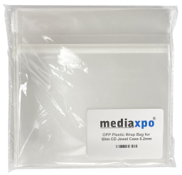 Resealable Clear OPP Bags for 5.2mm Slimline CD Jewel Case - 10000