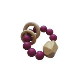 Hayes Silicone + Wood Teether Toy - Sangria