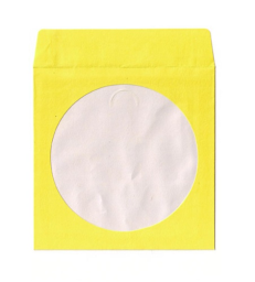 100g Yellow Color Paper Sleeves CD/DVD Window with Flap - 100
