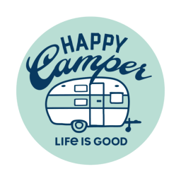 Life is Good Happy Camper 4 Circle Sticker