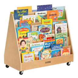 """ECR4Kids 36"""" W Birch Double Sided Mobile Book Display"""