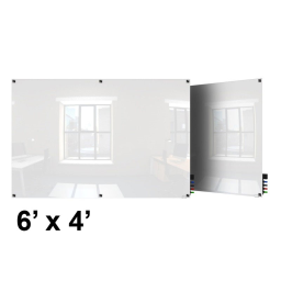 Ghent Harmony 6' x 4' Square Corners Colored Magnetic Glass Whiteboard