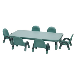 Angeles® BaseLine® Rectangular Toddler Table & Chair Set - 60L x 30Wx 12H Table w/ 6 Chairs, Teal
