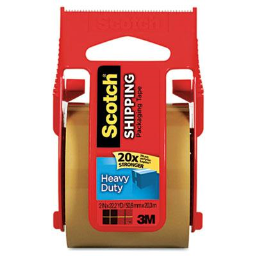 """Scotch Heavy-Duty Packaging Tape with Dispenser  Tan  1-1/2"""" Core"""