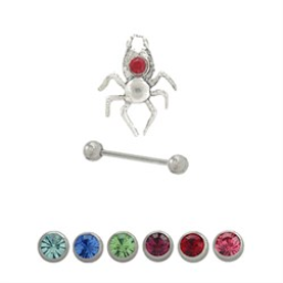 Eyebrow Shield Sterling Silver Spider Design with Jewel