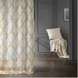 Normandy Gold Grommet Printed Faux Linen Sheer Curtain