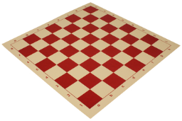 """Club Vinyl Rollup Chess Board Red & Buff - 2.25"""" Squares"""