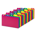 """Oxford 1/5 Tab 3"""" x 5"""" Alphabetic Index Card Guides  Assorted  1 Set"""